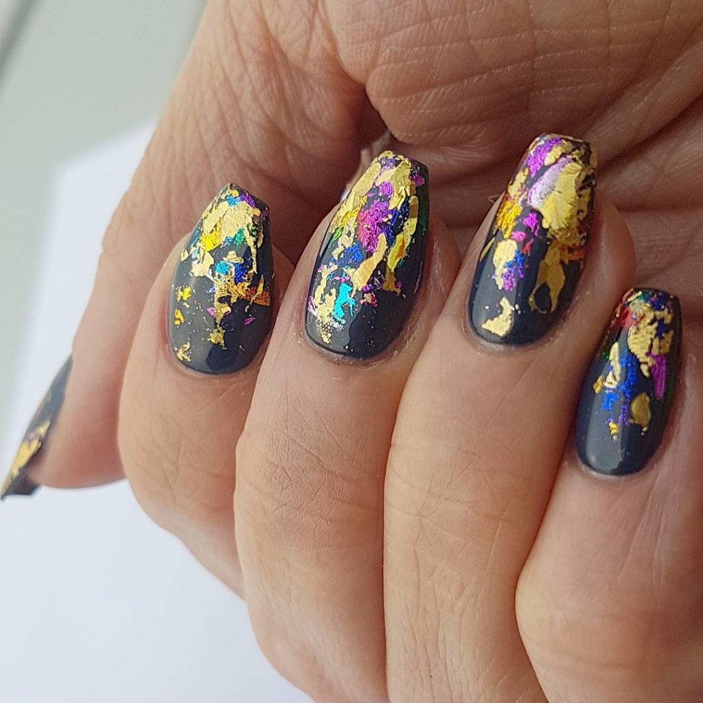 Black and Yellow Glitter nails