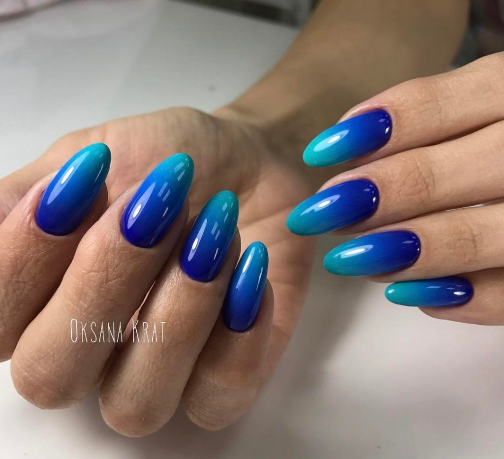 Royal Blue And Turquoise Ombre Nail Art