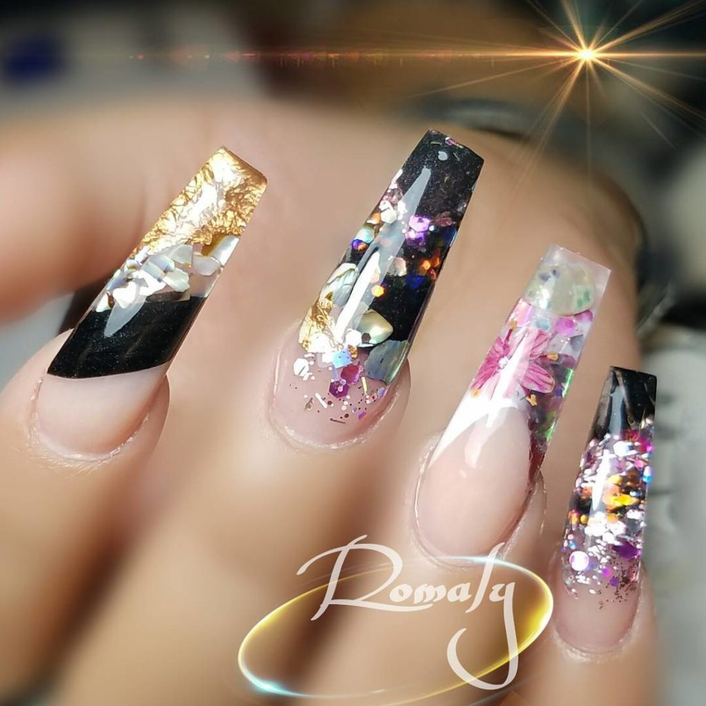 Floral Glitter Coffin nails