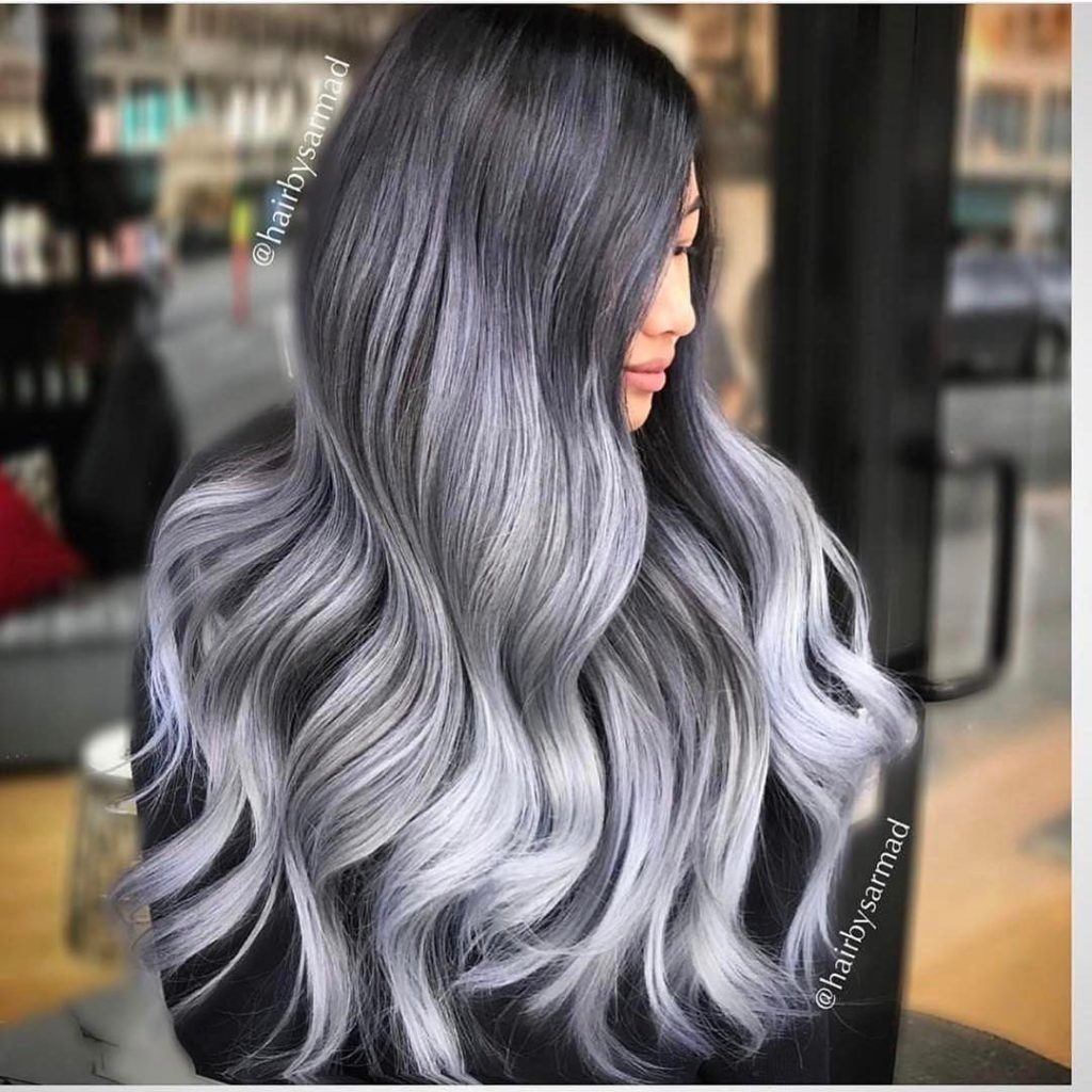 Long silver hairstyle