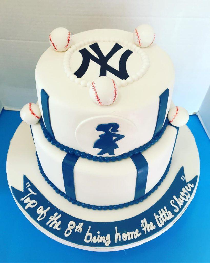 NY Yankees Baby Shower Cake @luvscakes