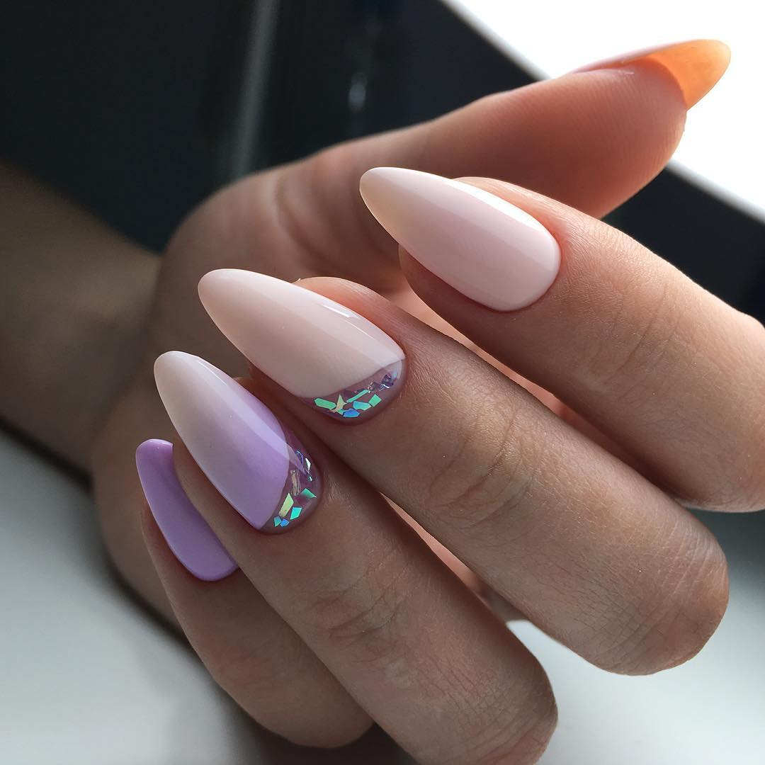 Дизайн ногтей на миндалевидную форму фото 2018