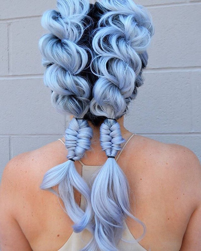 Pastel Blue hair braids