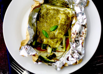 Pesto Cod Fillet Parcel – Fish recipe under 200 calories