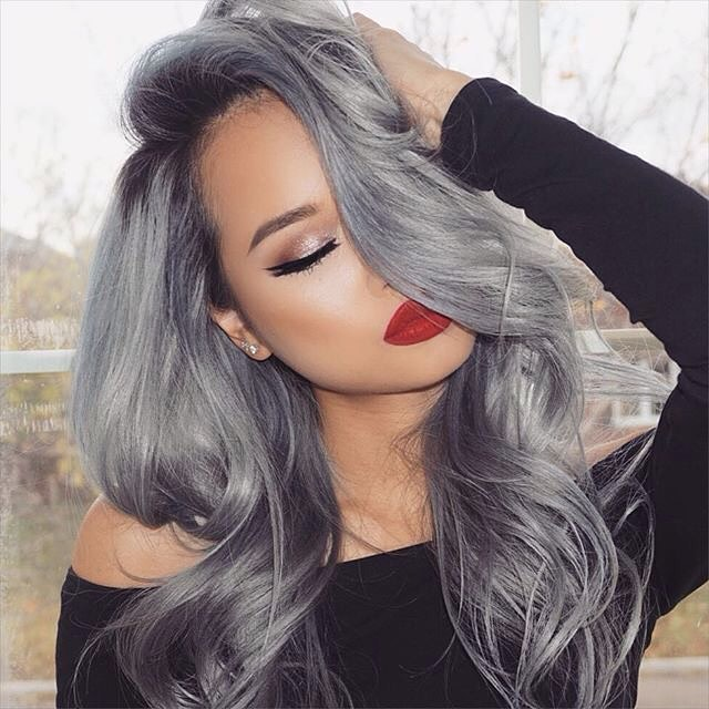 Silver hair with red lipstick