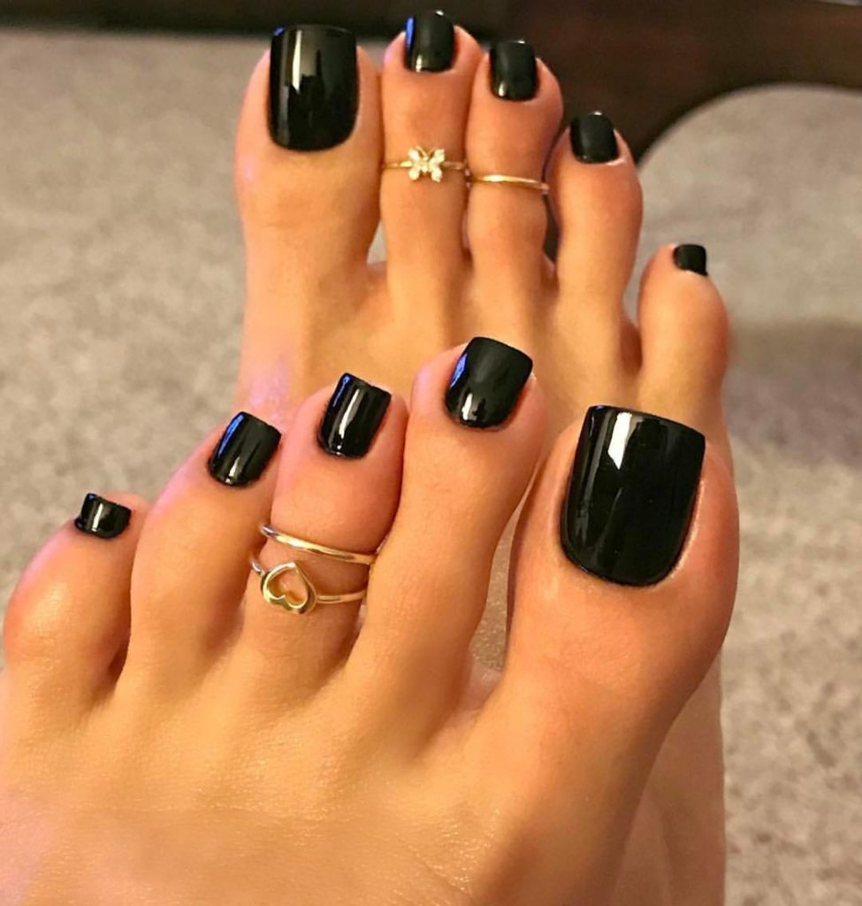 Trust in Black nail design summer and matching toenails