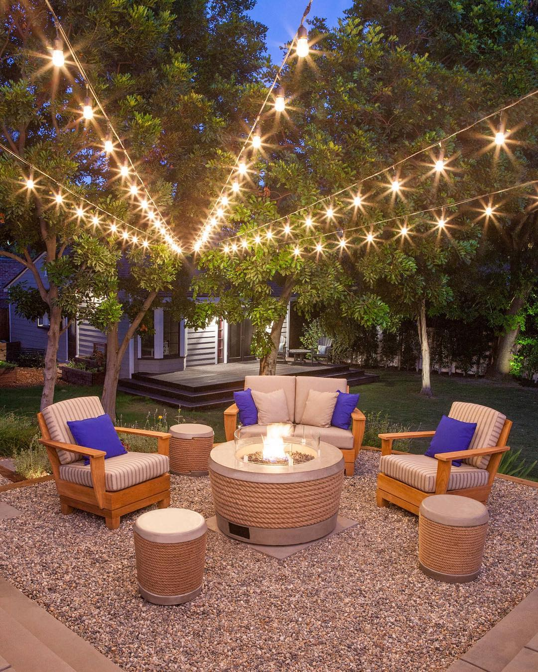 Modern Backyards With Outdoor Fire Place Rattan Furniture