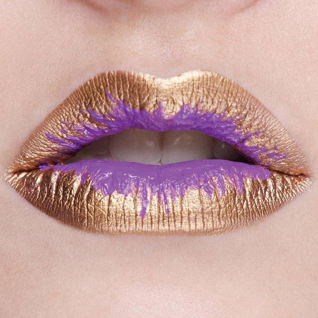 gold and purple ombre lips