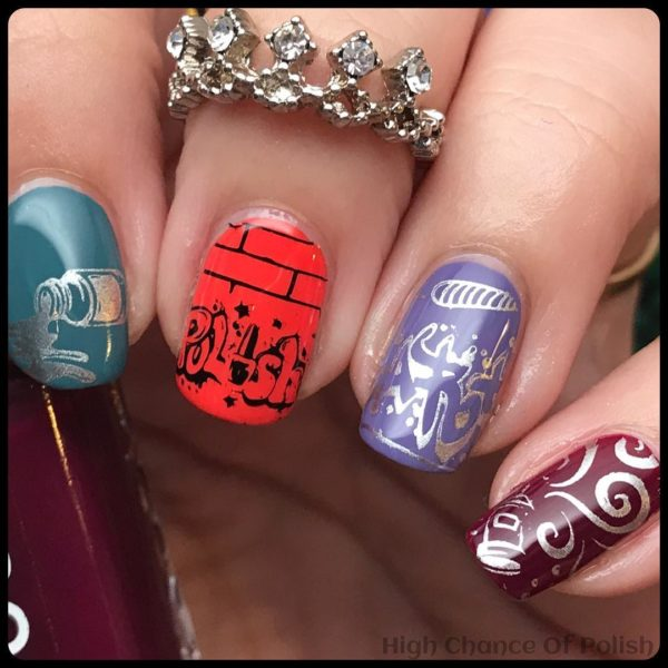 Graffiti nail art design in various colours.