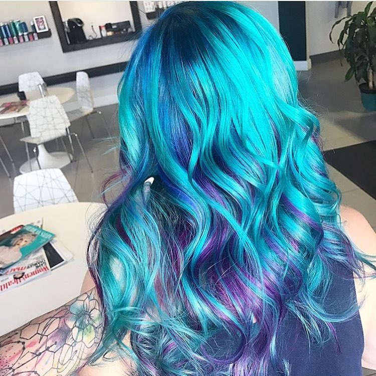 purple blue turquoise hair
