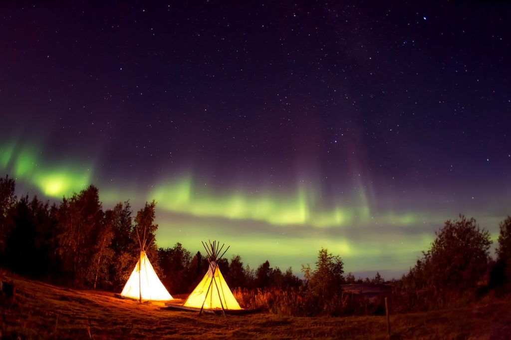 teepees under the stars northern lights